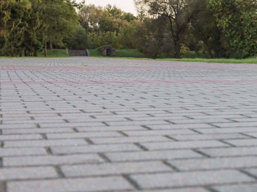 close up view of decorative driveway pavers