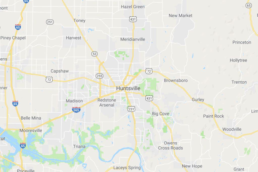 Huntsville Alabama Service Area Map