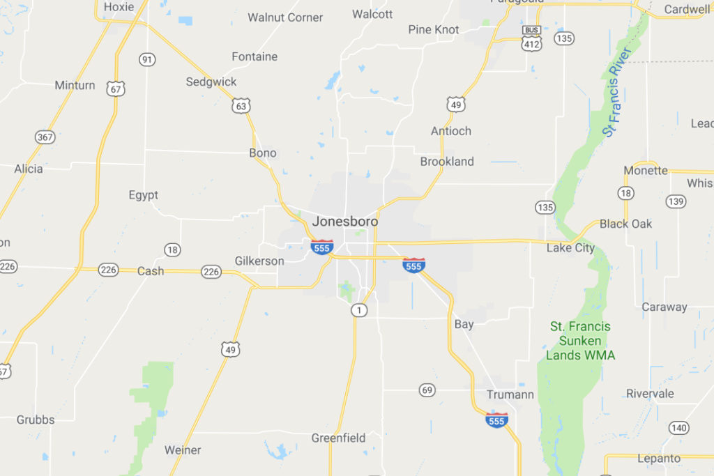 Jonesboro Arkansas Service Area Map