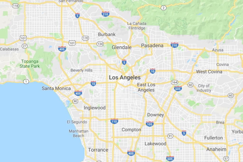 Los Angeles California Service Area Map
