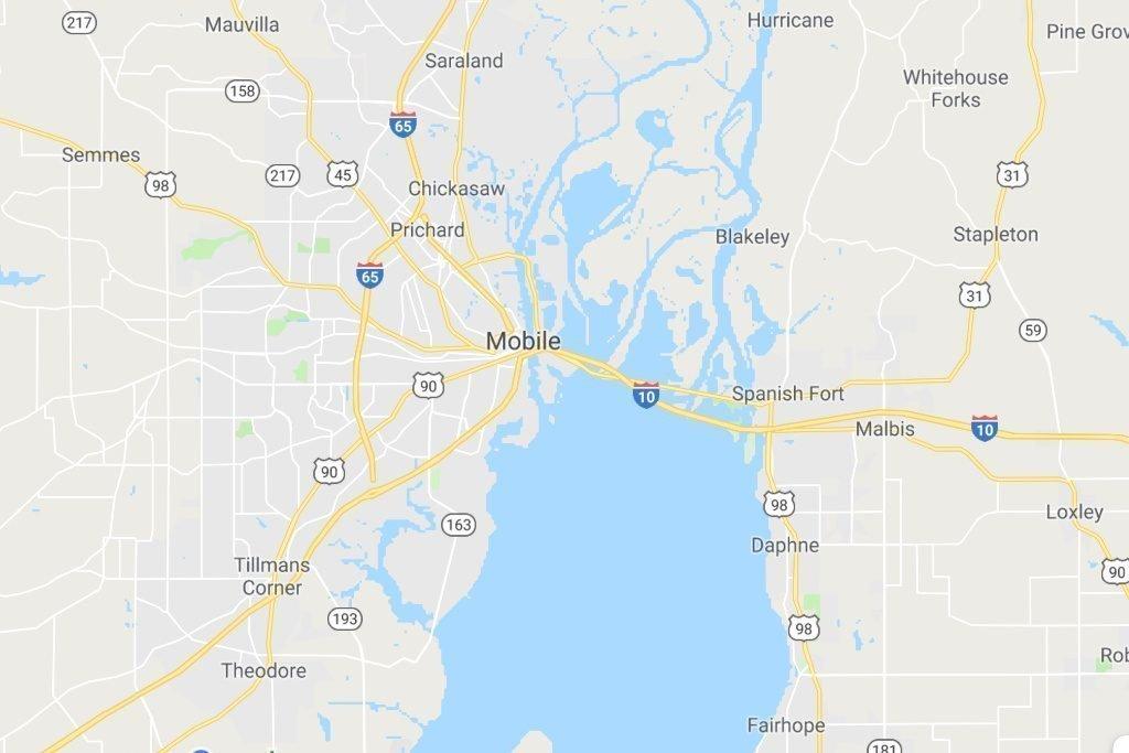 Mobile Alabama Service Area Map