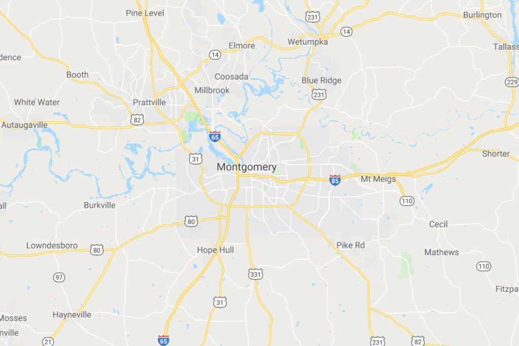 Montgomery Alabama Service Area Map