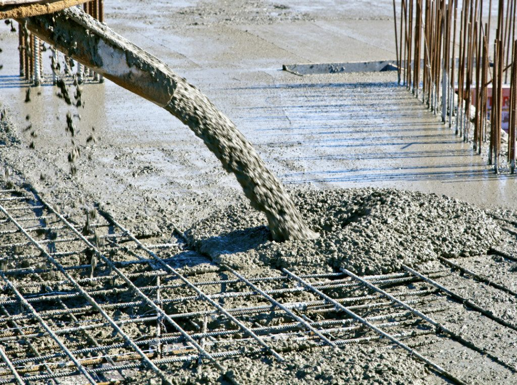 pouring cement for industrial flooring
