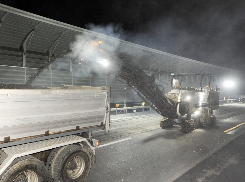 racetrack surface milling at night
