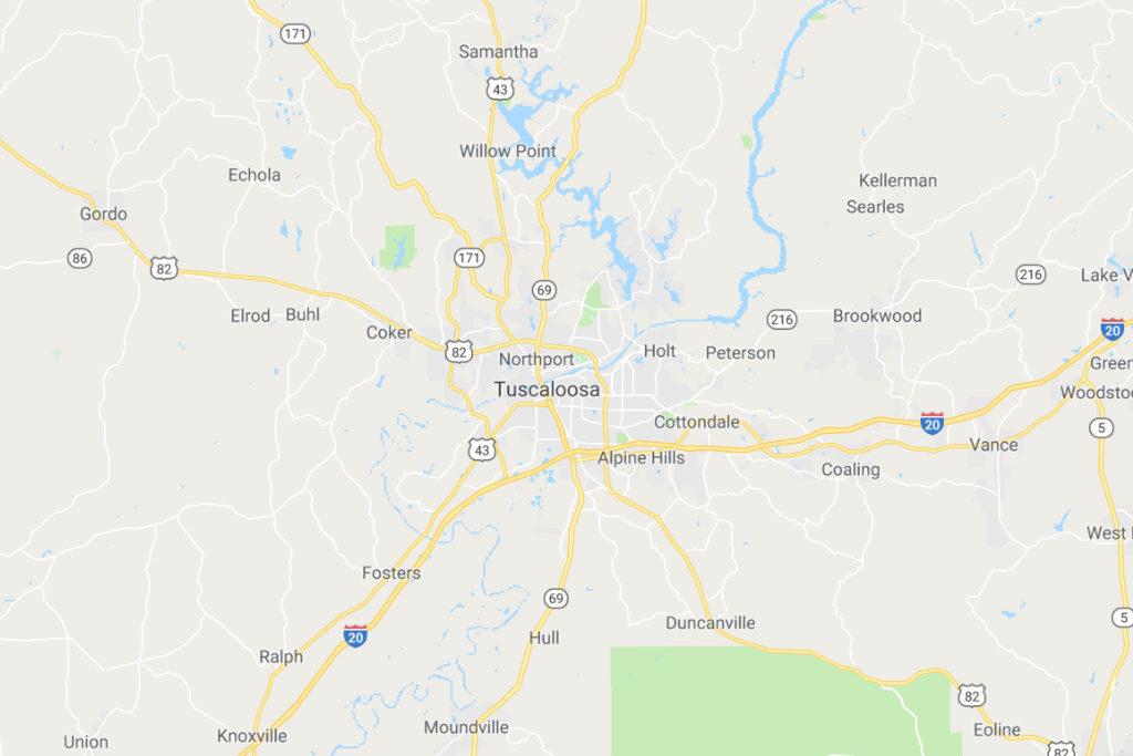 Tuscaloosa Alabama Service Area Map
