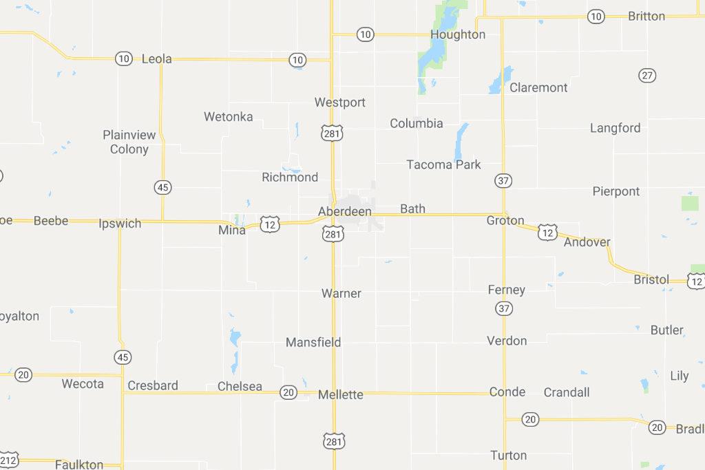 Aberdeen South Dakota Service Area Map