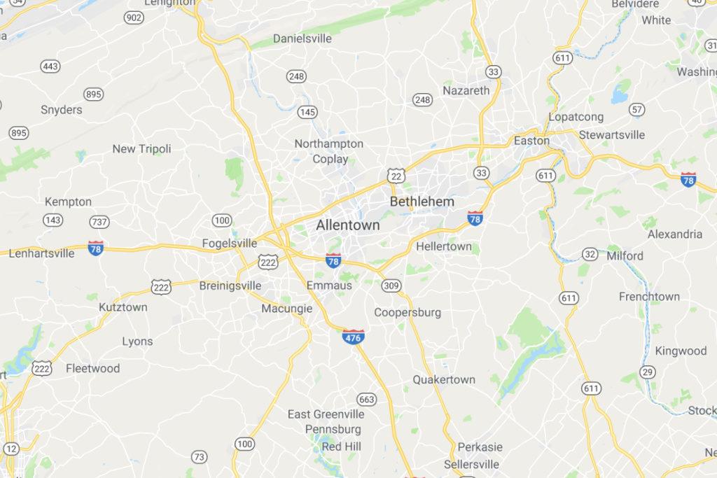 Allentown Pennsylvania Service Area Map