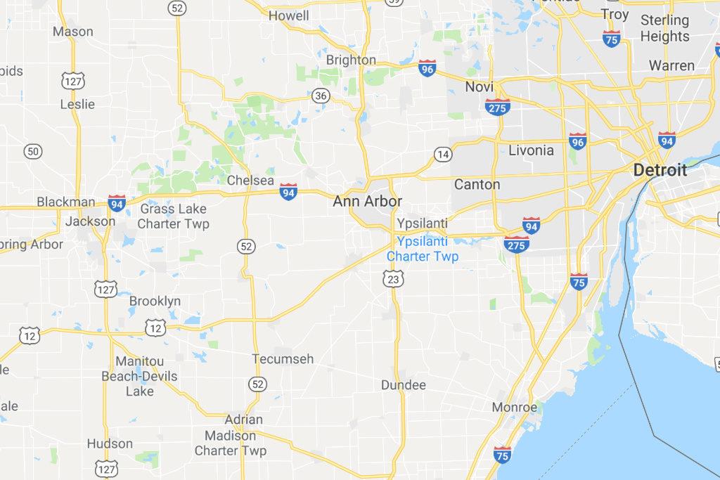 Ann Arbor Michigan Service Area Map