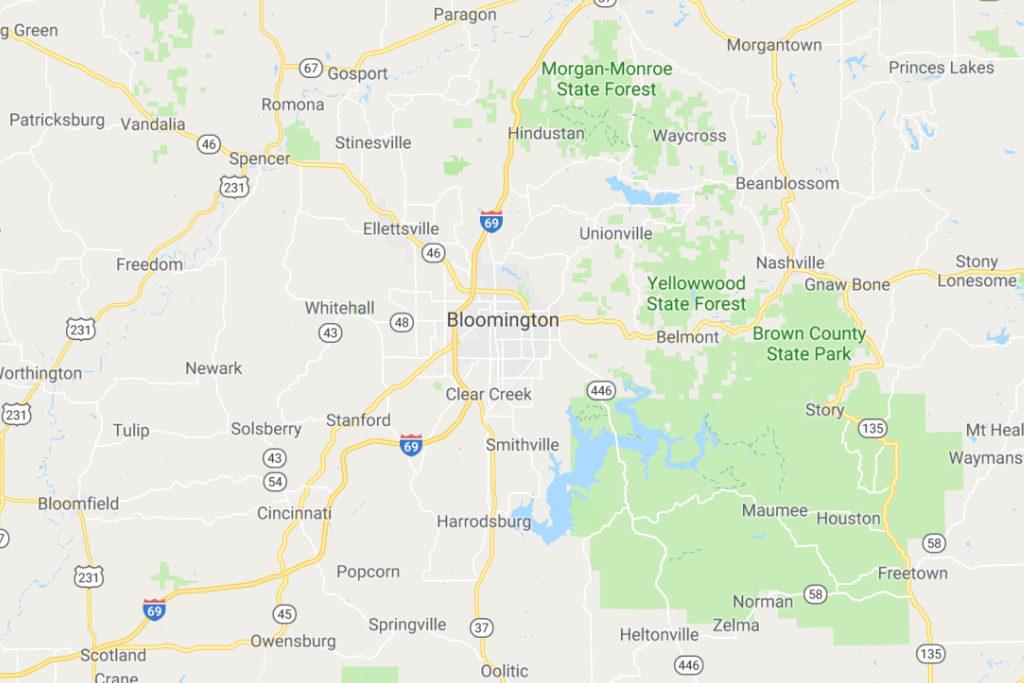 Bloomington Indiana Service Area Map