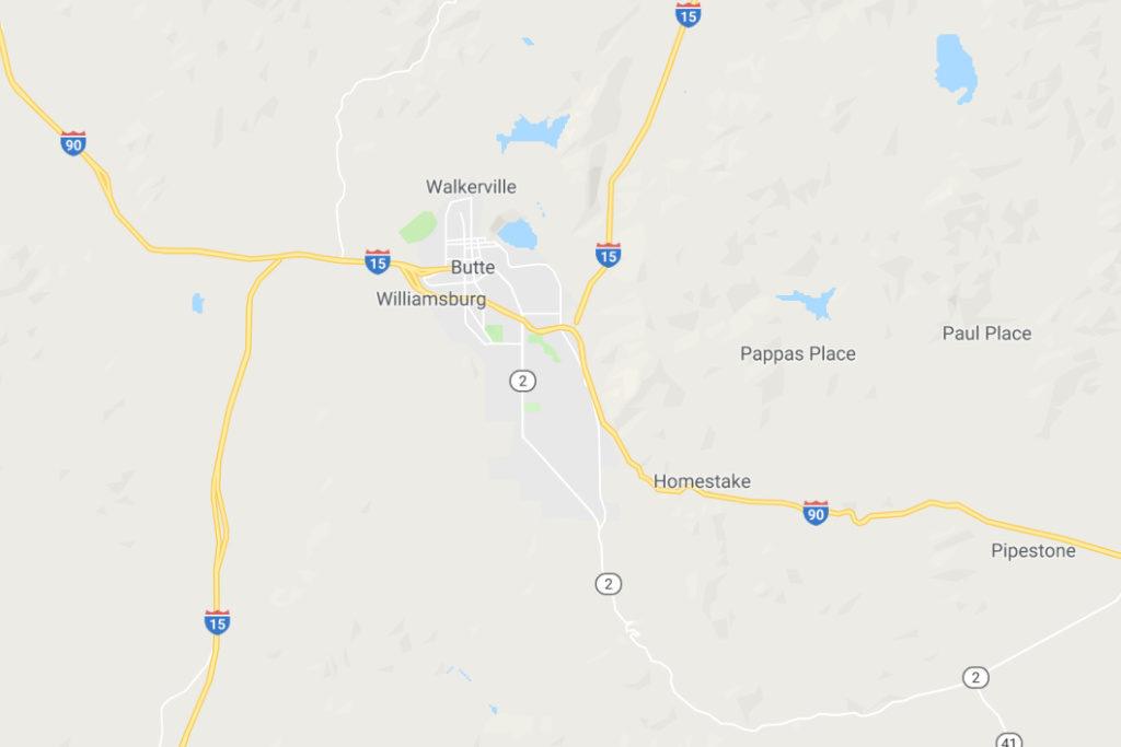 Butte Montana Service Area Map