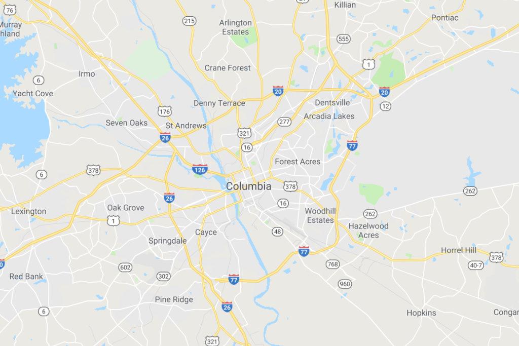 Columbia South Carolina Service Area Map