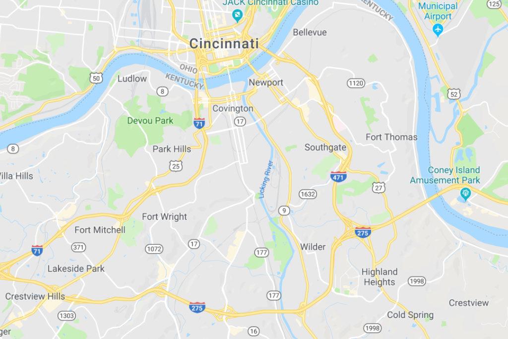 Covington Kentucky Service Area Map