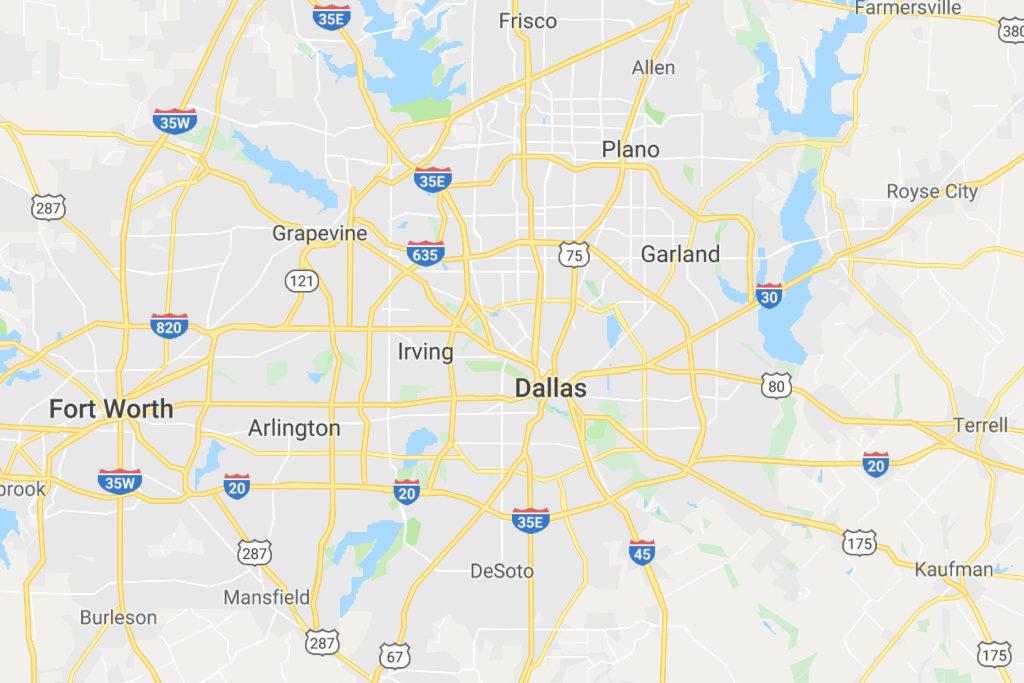 Dallas Texas Service Area Map