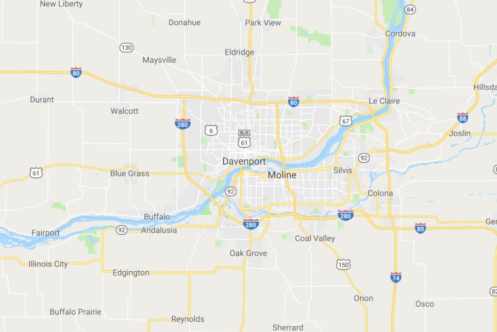 Davenport Iowa Service Area Map