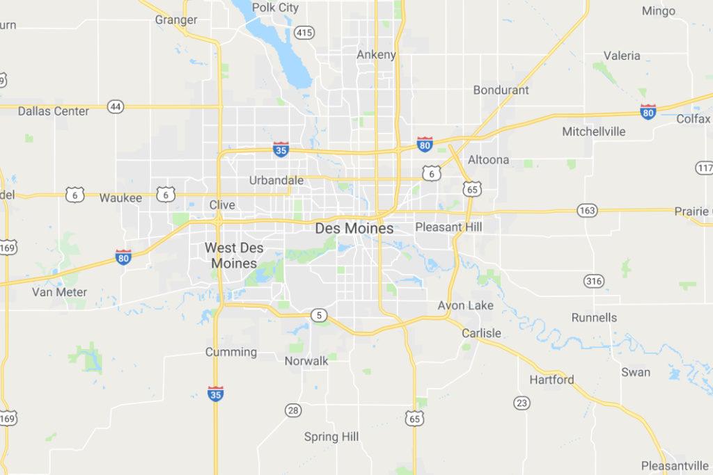 Des Moines Iowa Service Area Map