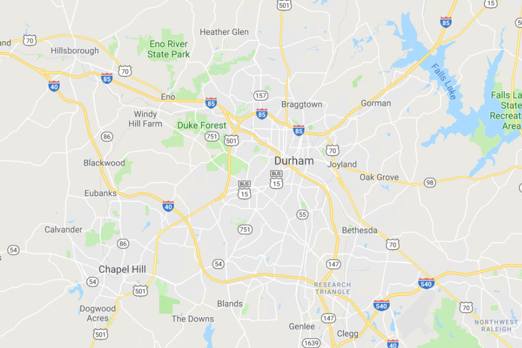 Durham North Carolina Service Area Map