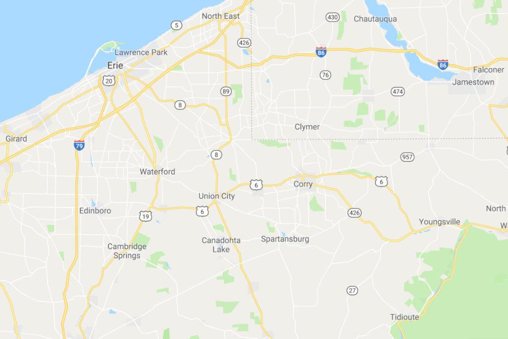 Erie Pennsylvania Service Area Map