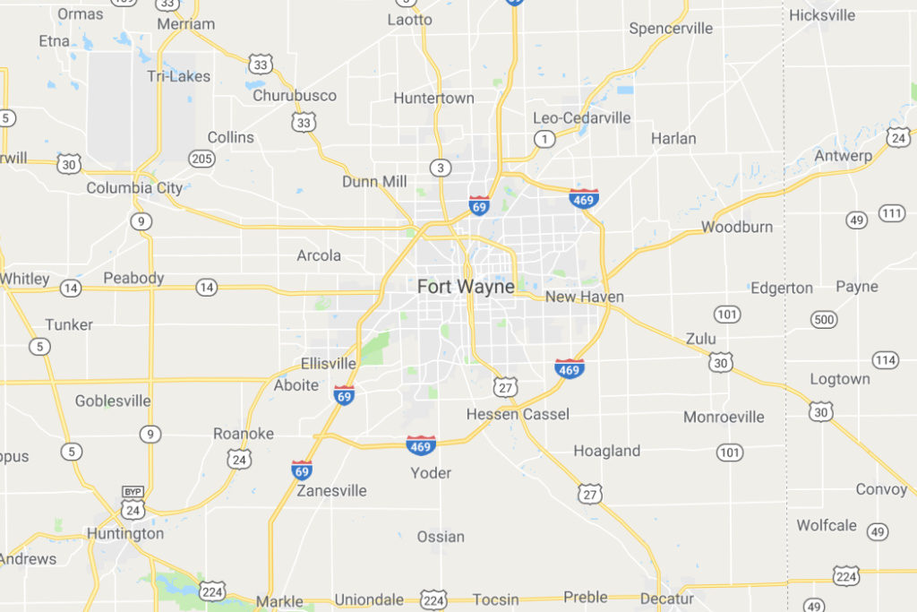 Fort Wayne Indiana Service Area Map
