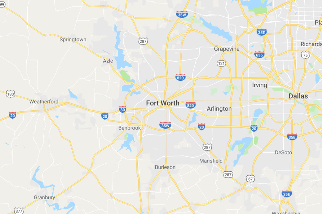 Fort Worth Texas Service Area Map