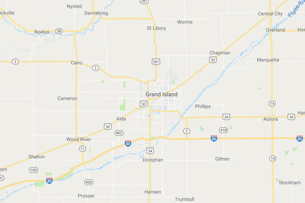 Grand Island Nebraska Service Area Map