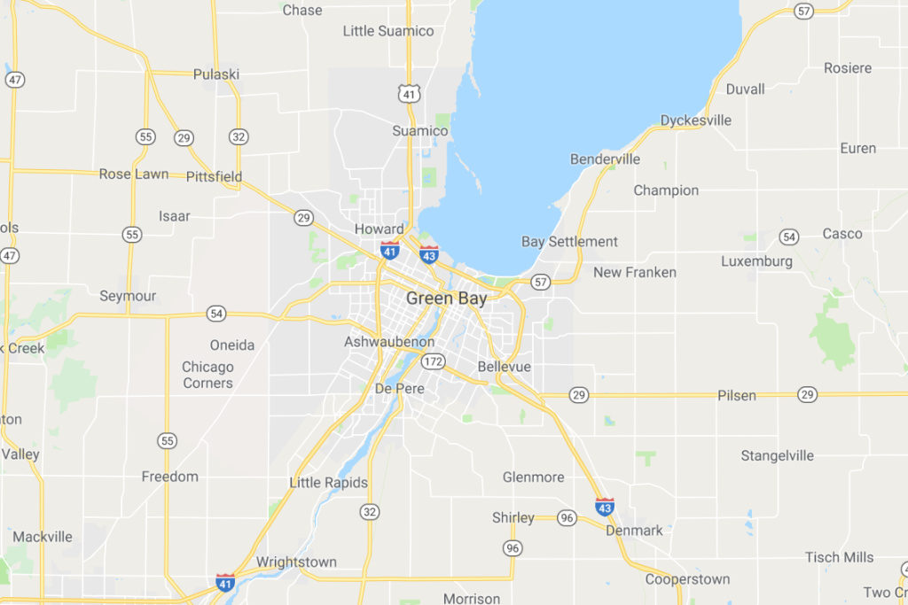Green Bay Wisconsin Service Area Map