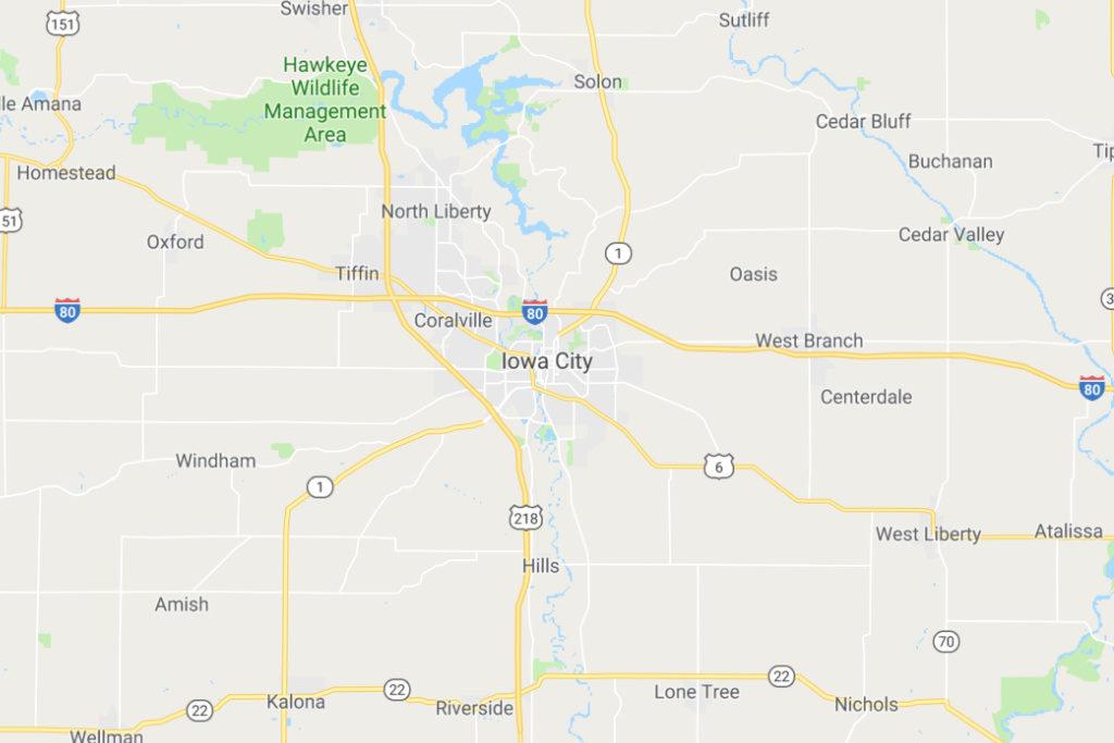 Iowa City Iowa Service Area Map