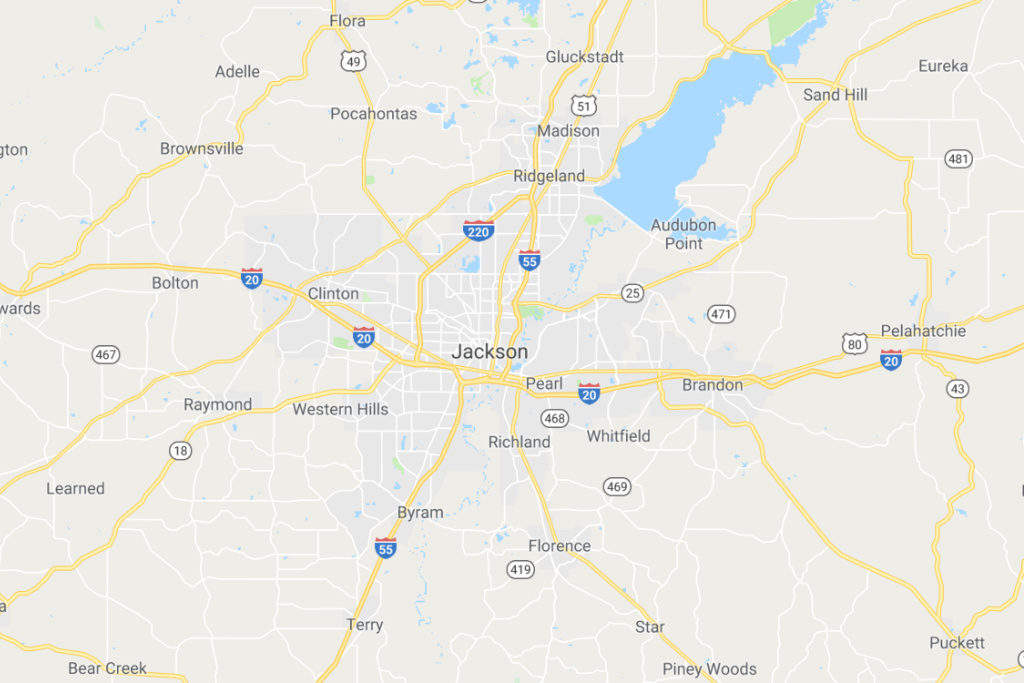 Jackson Mississippi Service Area Map