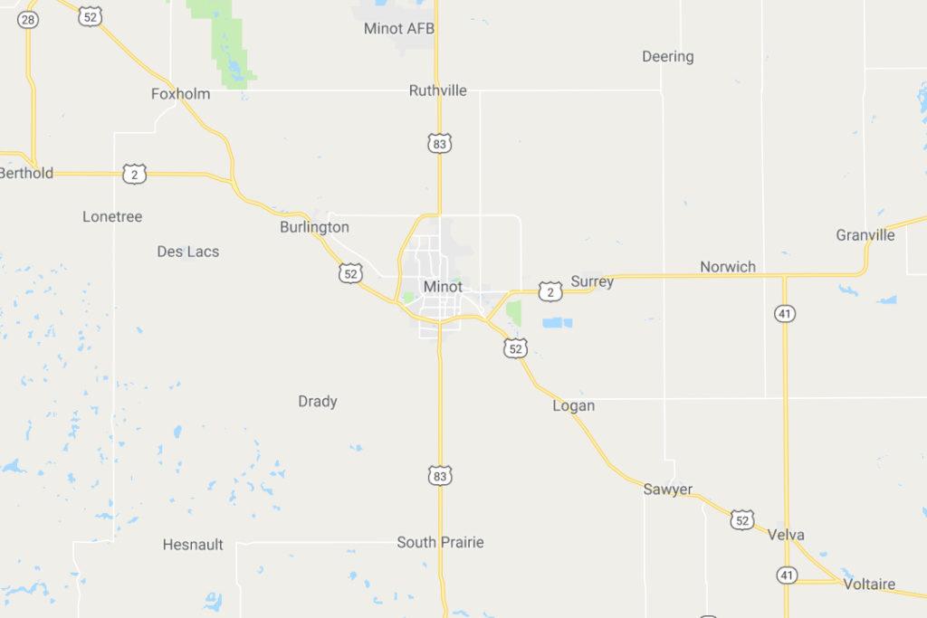 Minot North Dakota Service Area Map