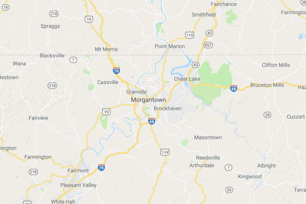 Morgantown West Virginia Service Area Map