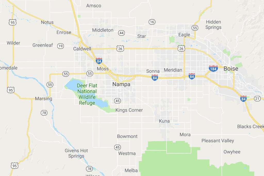 Nampa Idaho Service Area Map