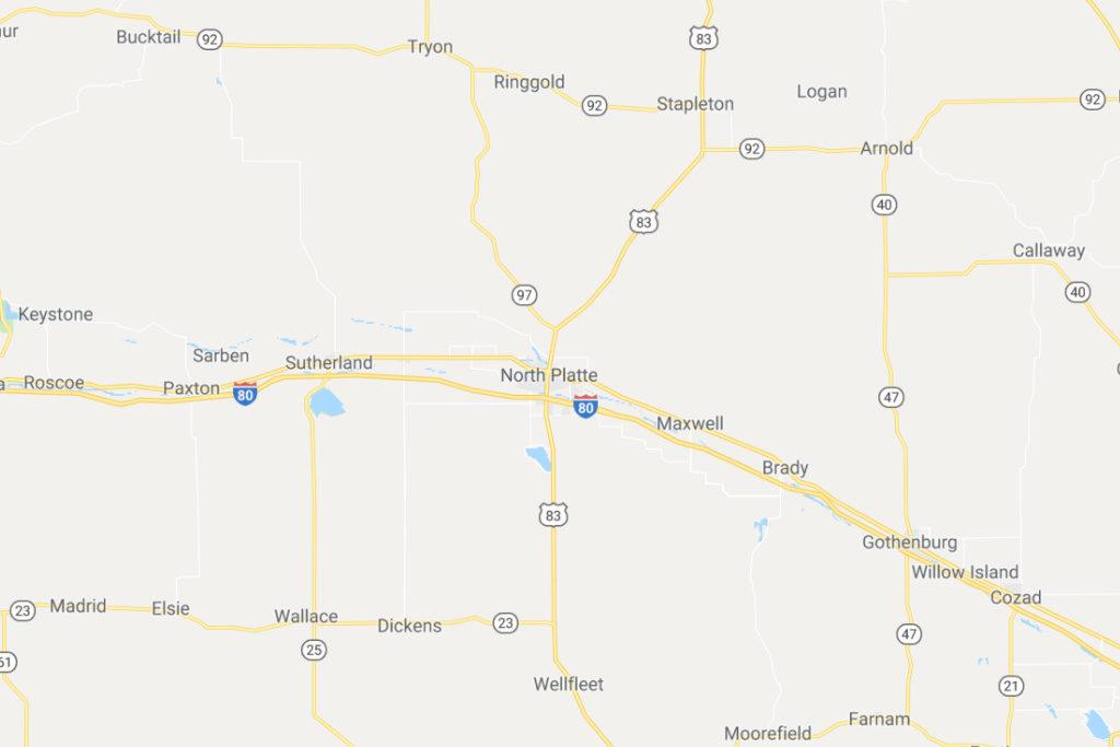 North Platte Nebraska Service Area Map