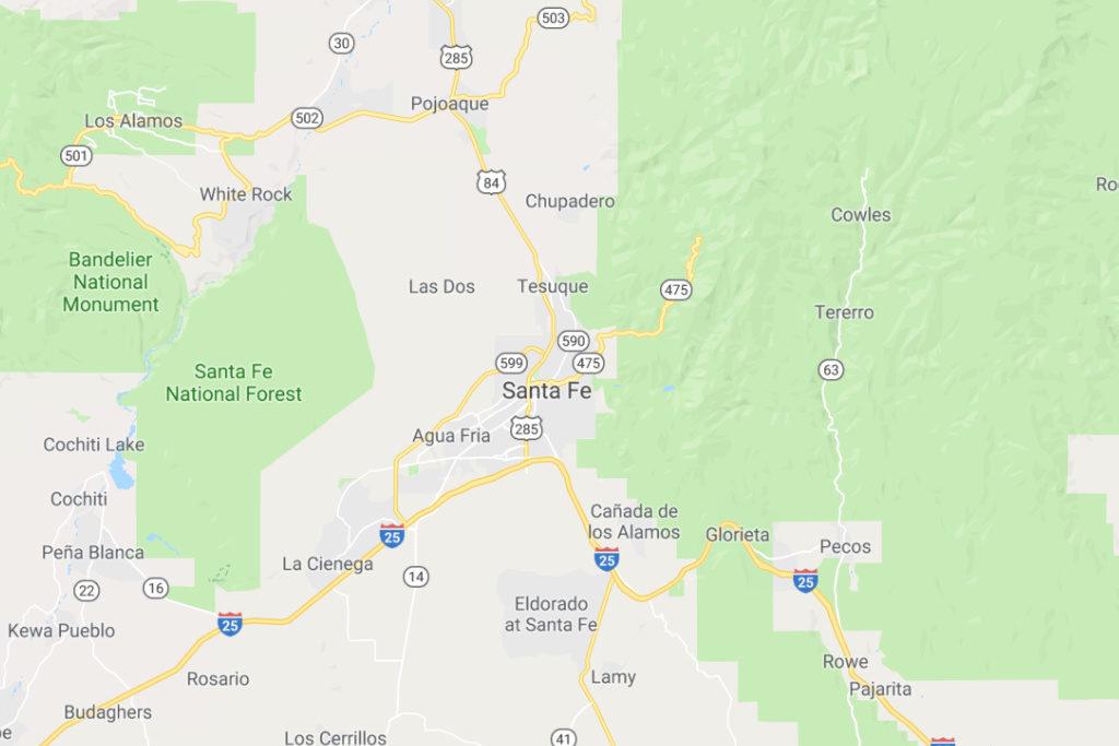 Santa Fe New Mexico Service Area Map