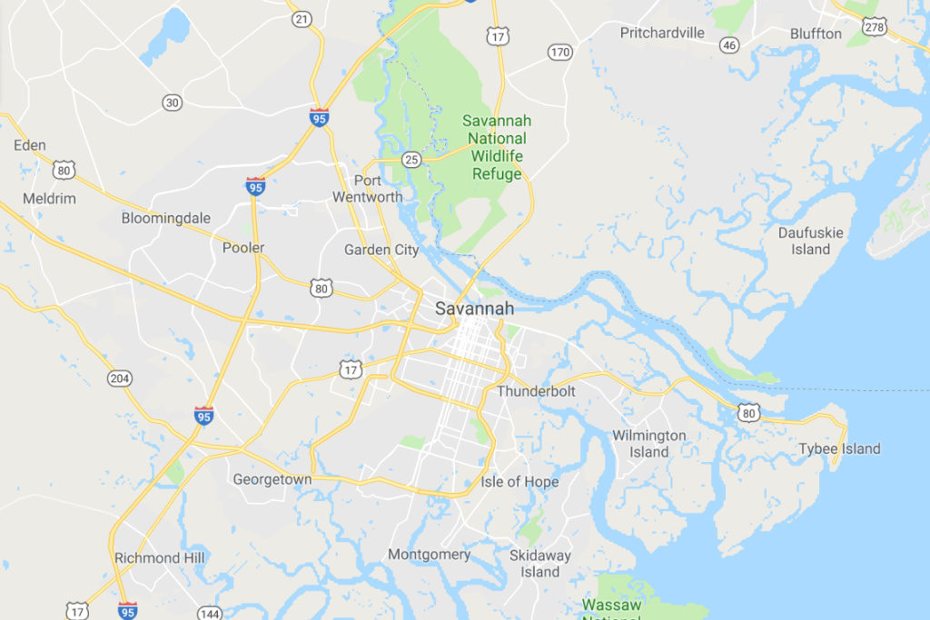 Savannah Georgia Service Area Map