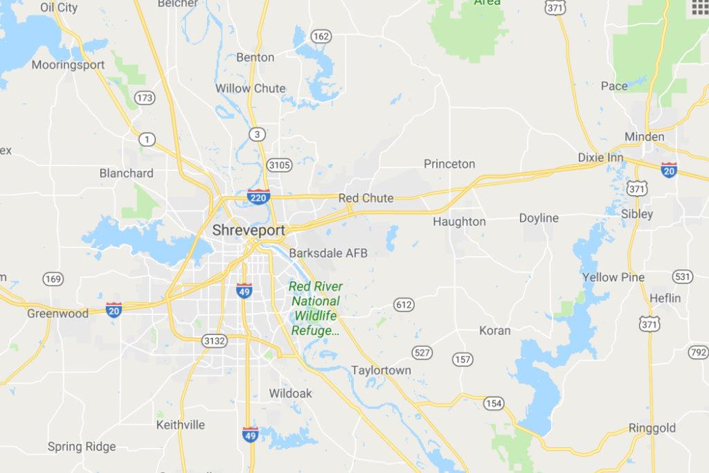 Shreveport Louisiana Service Area Map