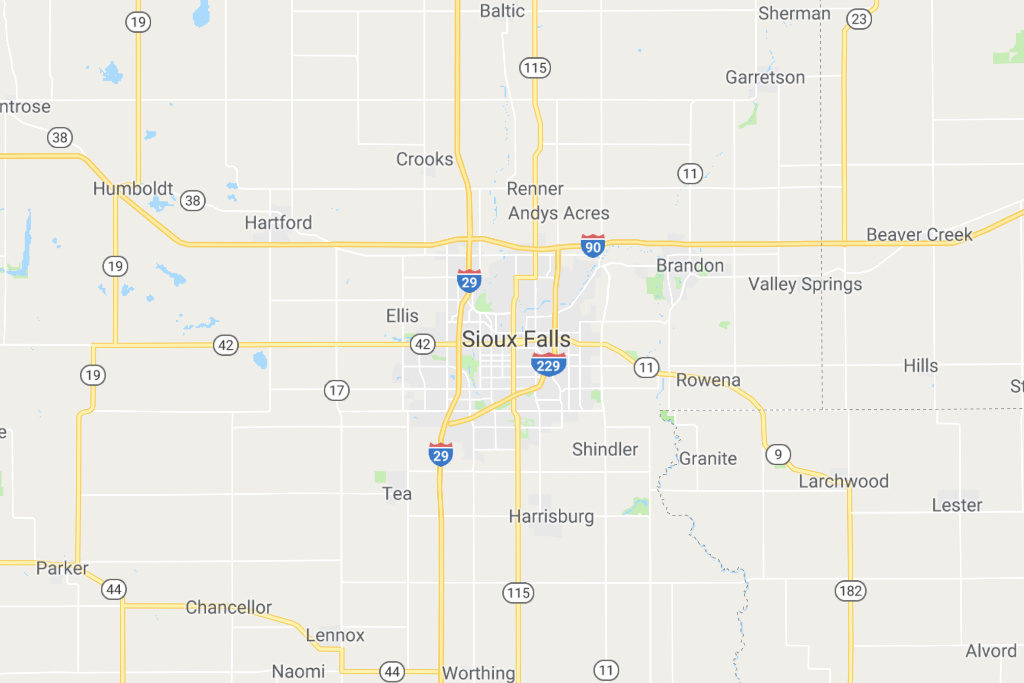 Sioux Falls South Dakota Service Area Map