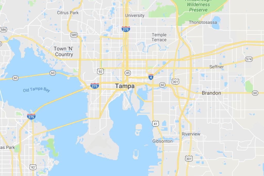 Tampa Florida Service Area Map